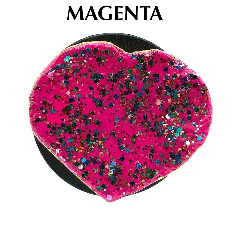 M&S Sterling Silver - Multi Colored Glitter Heart Phone Stones
