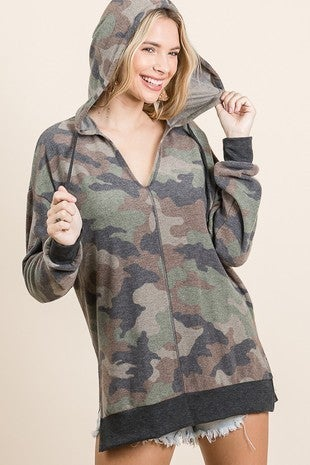 Camo Brushed Knit Hoodie Top Featuring Long Sleeve Side Slit Overlock Stitch Detail