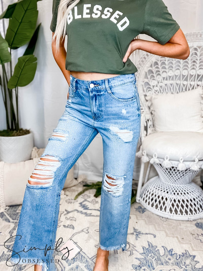 Vocal - Ripped denim with fray hem and stud detail