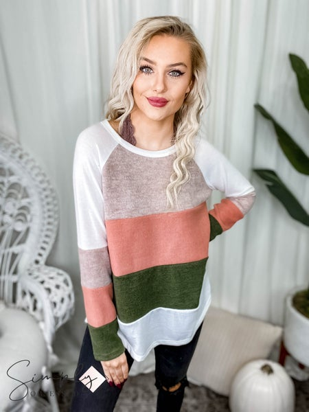 First Dibs Hailey & Co - Brushed hacci  color block long sleeve