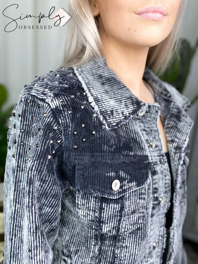 American Fit - Studded washed corduroy jacket