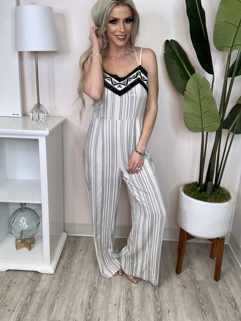 Skies Are Blue - Striped jumpsuit with embroidered detail