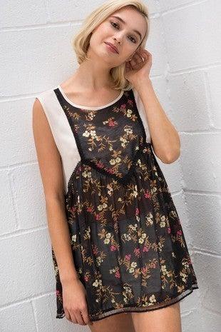 POL - Sheer Sleeveless Floral Woven Top