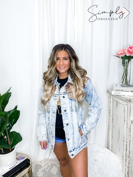 Lucky & Blessed- Distressed denim jacket with blue iridescent sequin detail