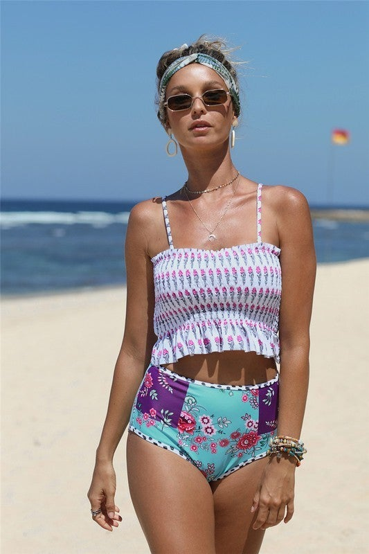 SHEWIN-Ruffled Floral Pattern Cropped Swim Top