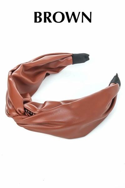Fame Accessories - Faux Leather Fabric Fashion Headband