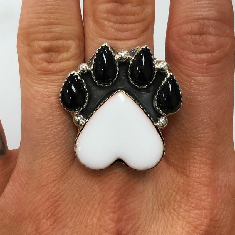 M&S Sterling Silver - White Ceramic Paw Ring w/Black Onyx