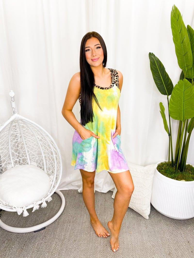 WHITE BIRCH-Sleeveless Tie Dye Knit Dress With Cheetah Print Trim Detail
