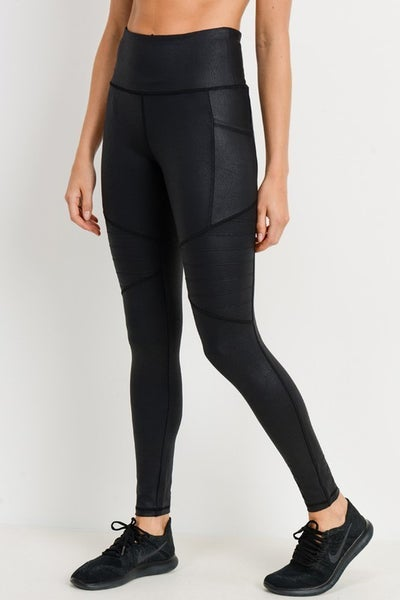 Mono B - High waisted foil moto leggings
