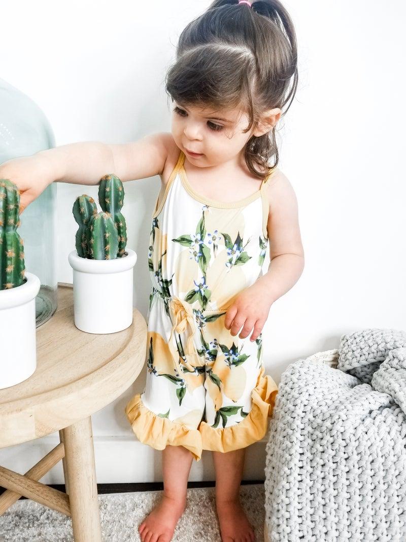 Honeydew - Lemon print ruffle romper(kids)