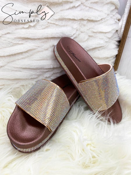 Lets See Style - Open toe casual rhinestone sandals