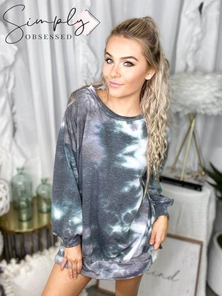 First Love - Long sleeve round neck tie dye casual top