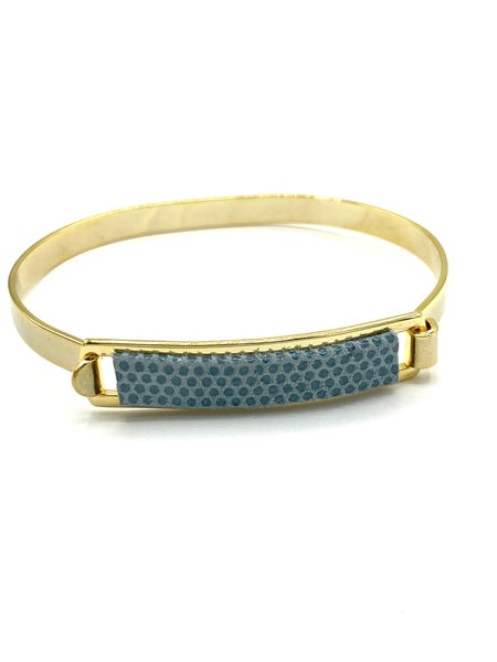 Light Blue Leather ID Bracelet