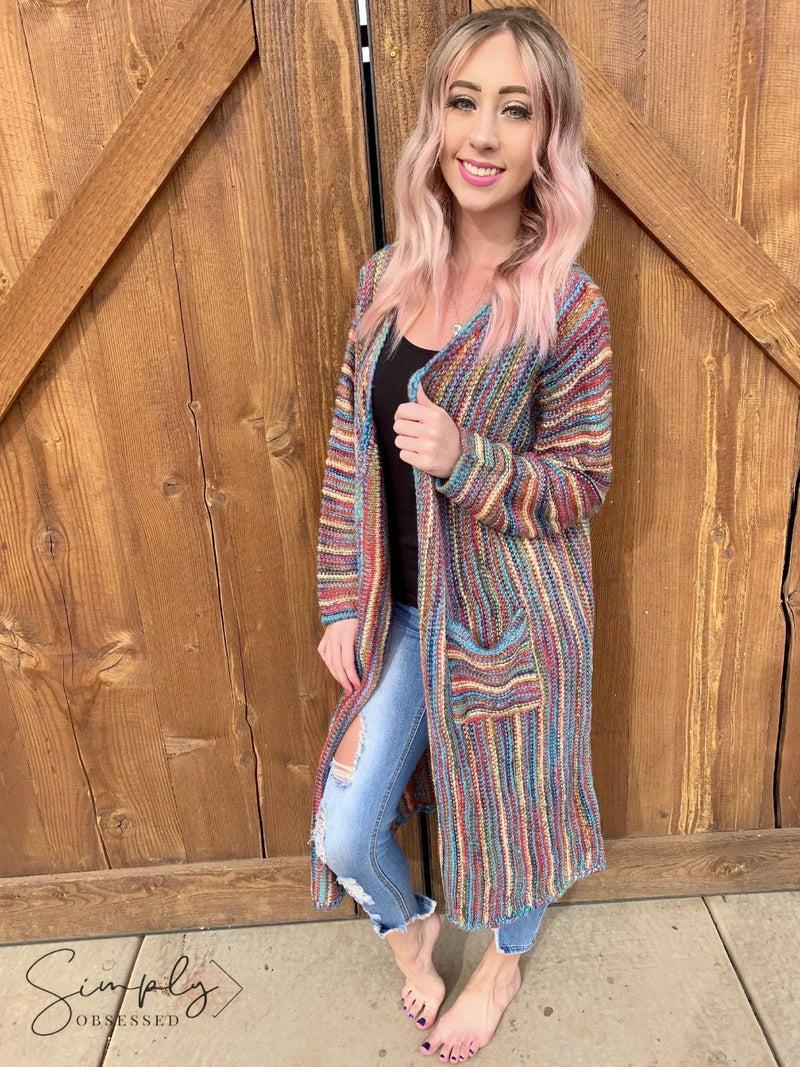 POL- Taste the Rainbow long sleeve sweater knit cardigan with pockets
