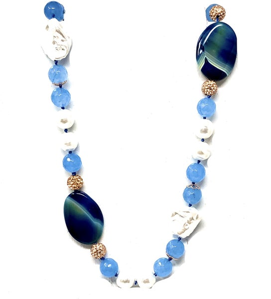 Short Blue Agate Pave Metallic Bead Necklace