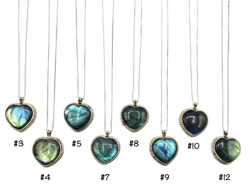 M&S - Labradorite Heart Necklace