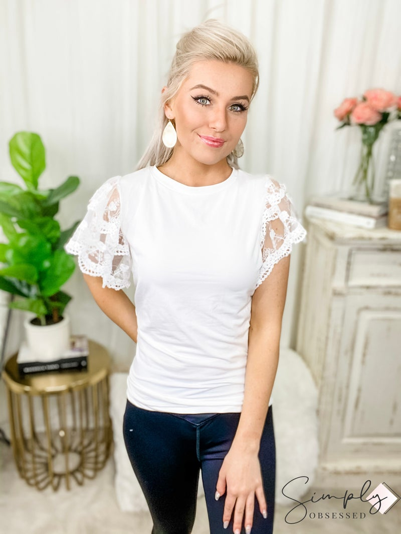 TRACIES-Lace Short Sleeve Solid Top