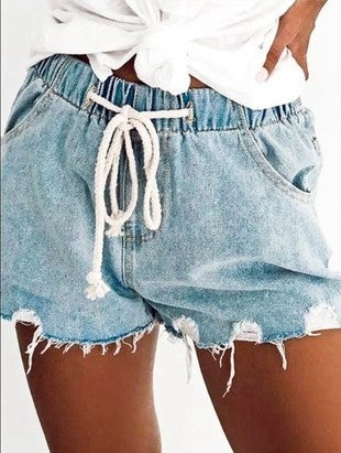 Lala Factory - Distressed vintage washed shorts w/ drawstring