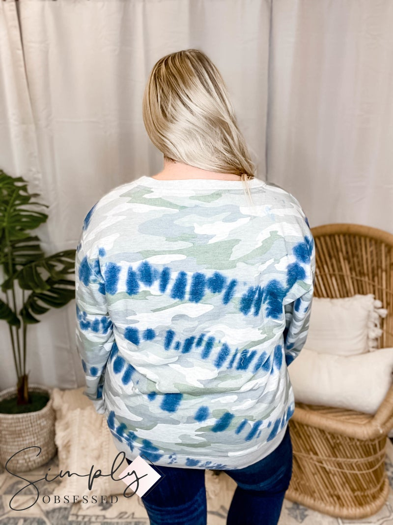 Sew In Love - Knit Camo Print Sweater with Tie Dye Accents