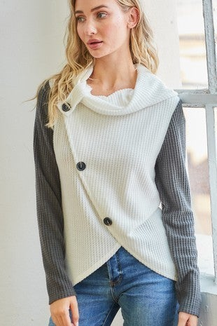Cy Fashion - Asymmetrical button cowl neck knit top