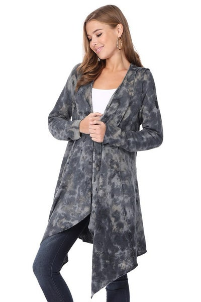 T-Party - Tie Dye Outseam Long Sleeve Cardigan