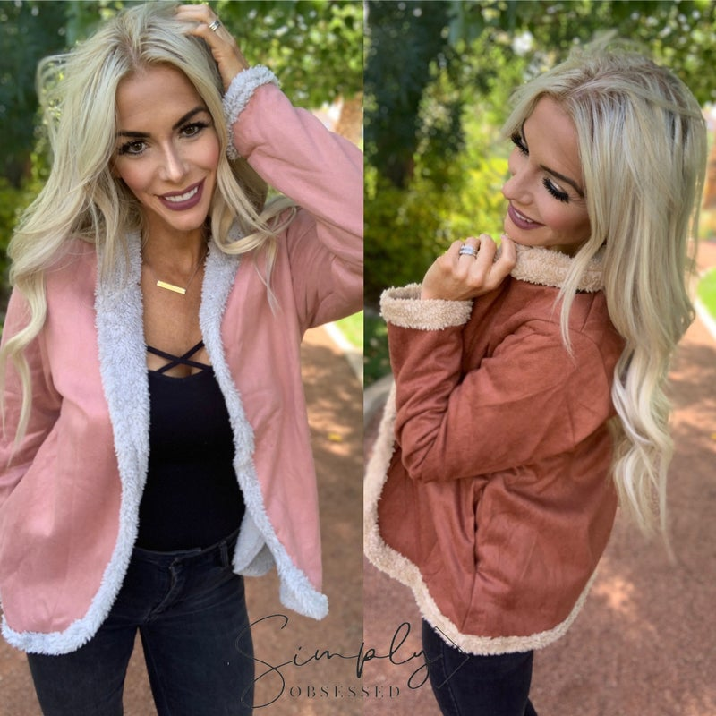 Listicle- Suede jacket with fur lining