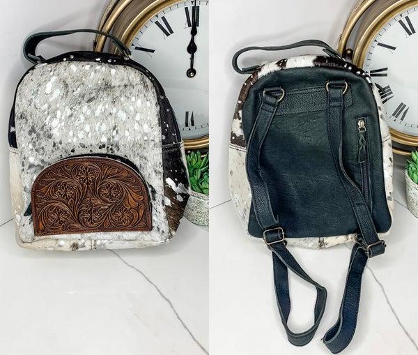 American Darling - Leather work acid wash backpack