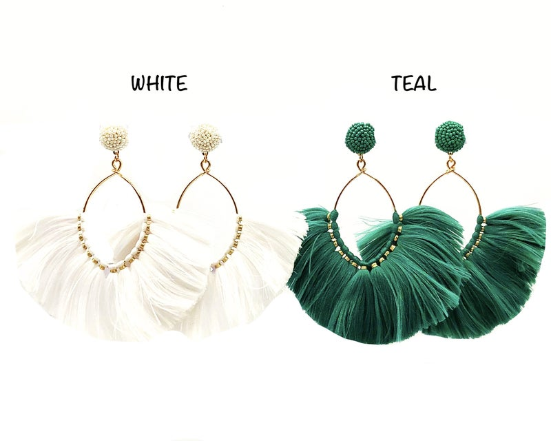 JRH - Beaded Stud Gold Hoop Fringe Earrings