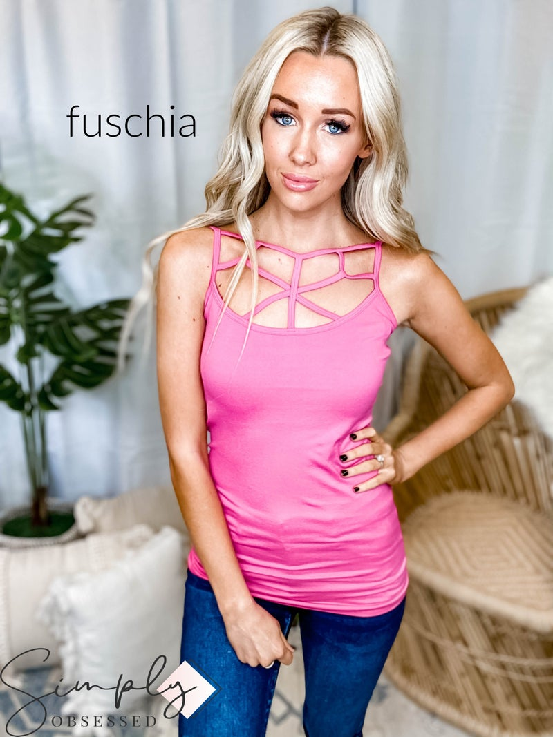 Seamless web detail front cami top