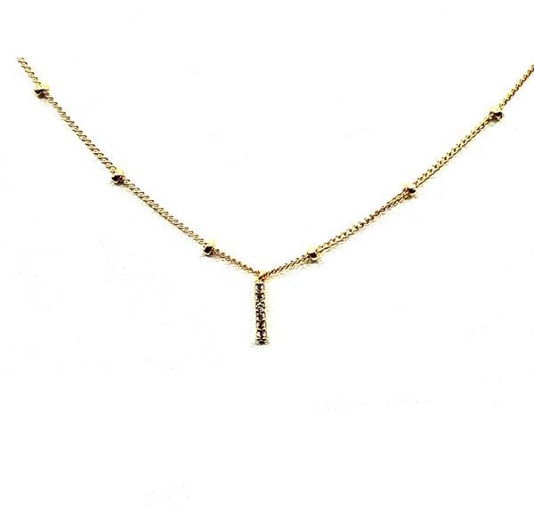 FAIRE - Tiny Pave Bar Necklace