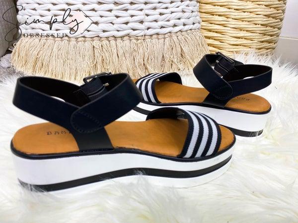 Bamboo - Platform high heel striped strap sandal