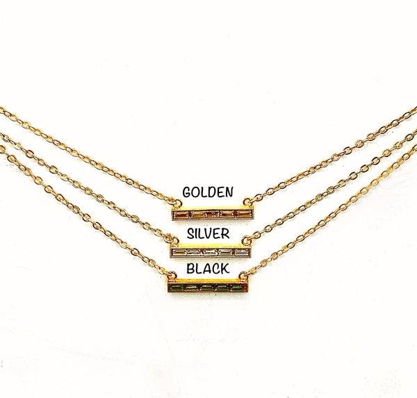 Gold Baguette Bar Necklace
