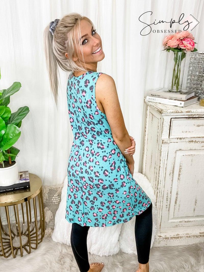 HONEY ME-Leopard Print Sleeveless Dress