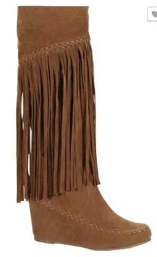 Tan suede fringe long boots