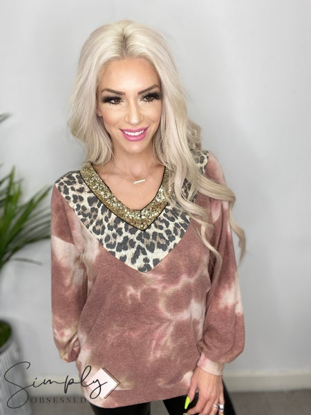 Vanilla Bay - Long sleeve brushed tie dye v-neck top with sequin and leopard print trim