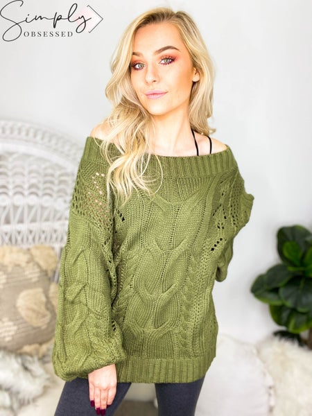 Kori - Cable detailed puff sleeves sweater