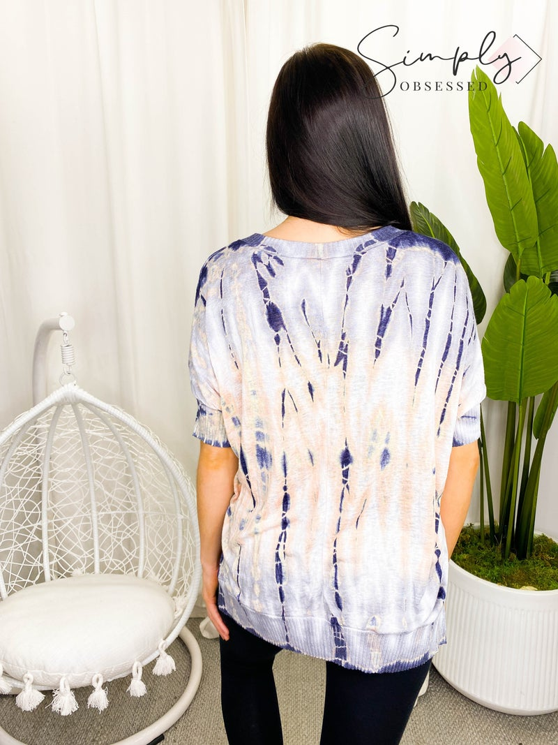 Chrysanthemum - Rib detail tie dye v neck top