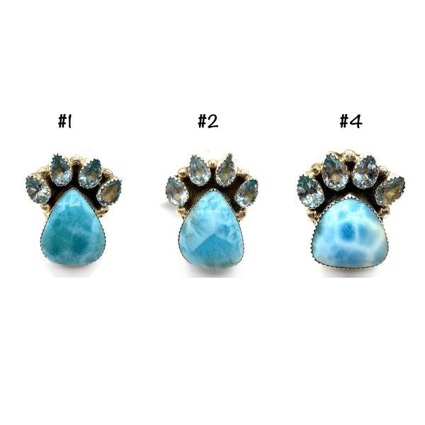 M&S - Larimar + Diamante Paw Ring