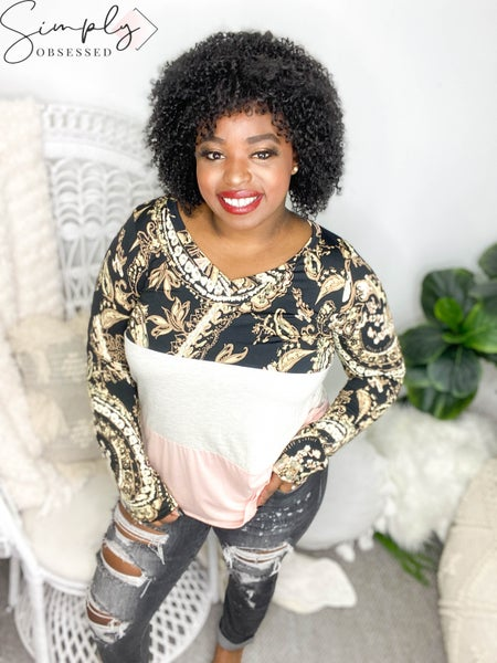 Sew In Love - Long sleeve color block and floral print top (all sizes)