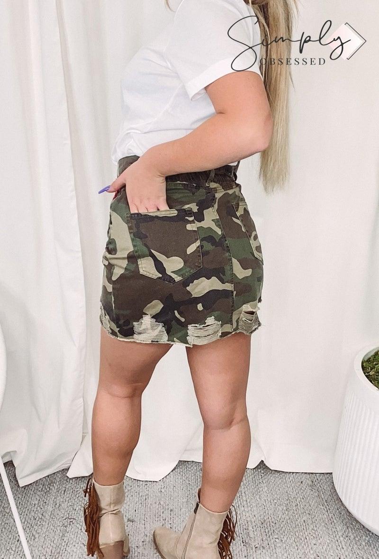 PEACH LOVE-Distressed Denim Mini Skirt