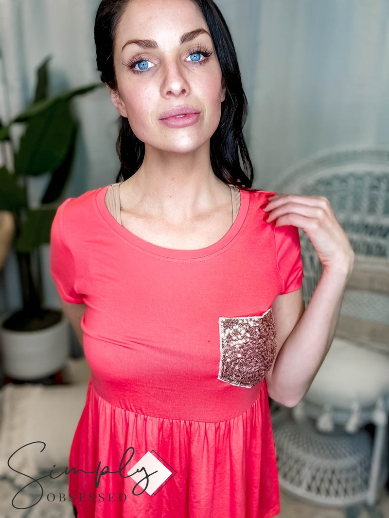 P.S. Kate - Solid rayon spandex babydoll top with sequin detail pockets