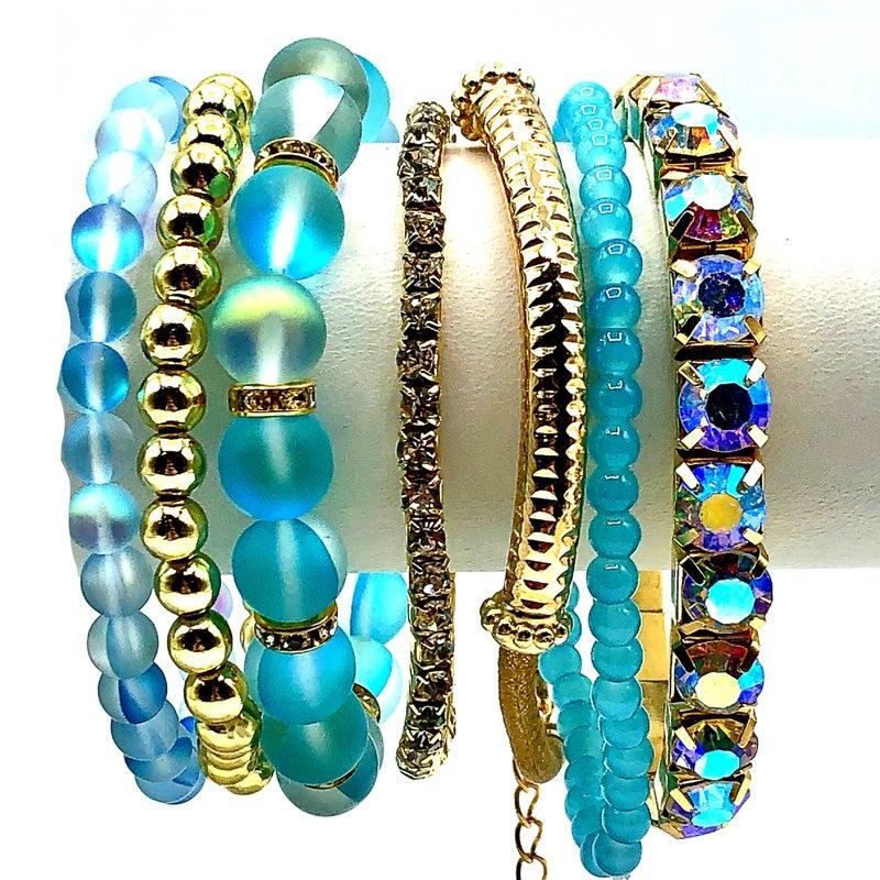 Mermaid Glass Stretch Bracelet  Set
