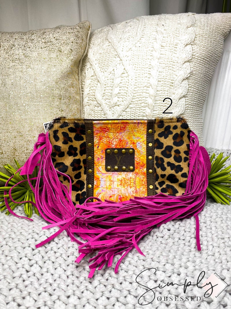 Leopard Detail Purse with Fringe