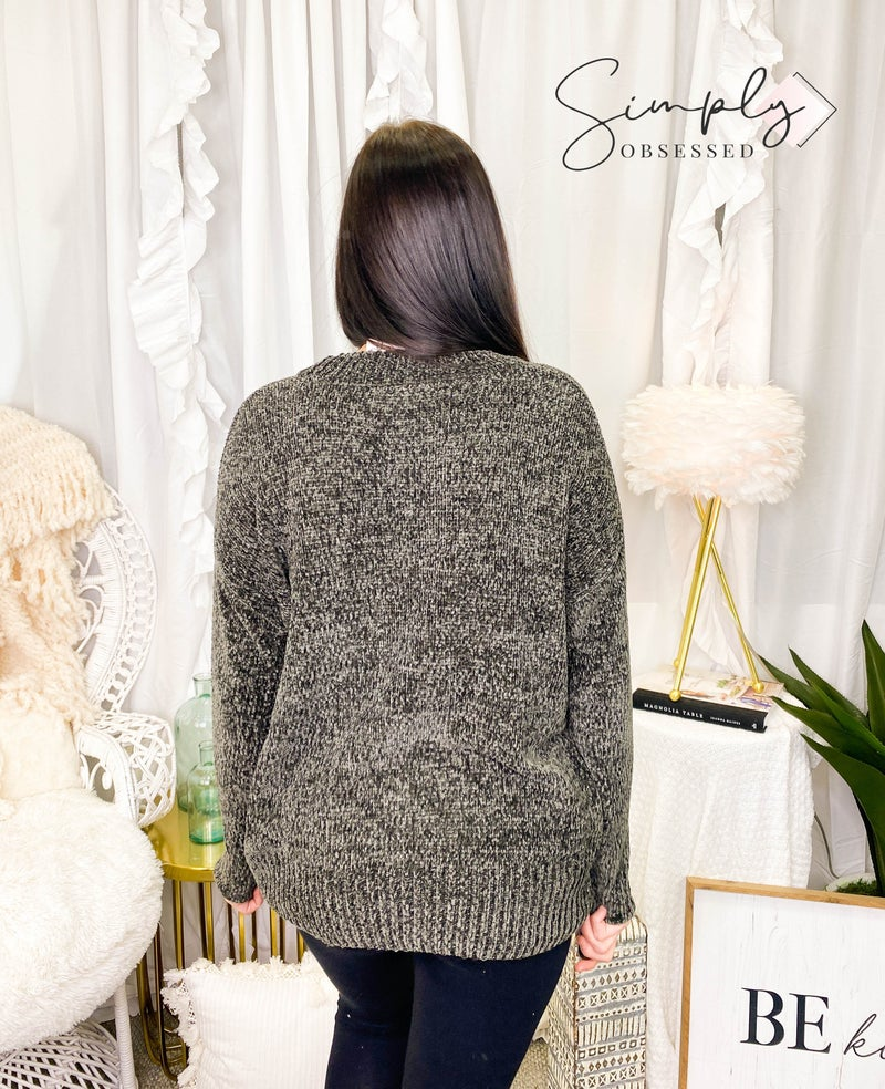 ZENANA-ROUND NECK LONG SLEEVE CHENILLE SWEATER