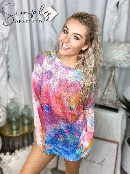 Davi & Dani - Long sleeve vivid tie dye loose fit sweater