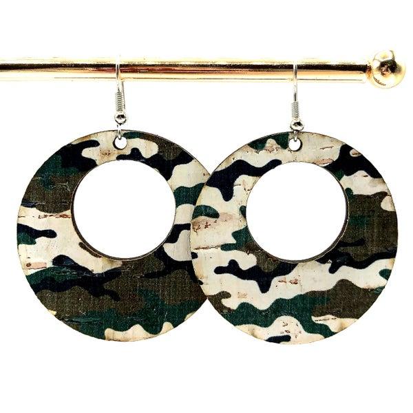 JJ - Leather Circle Camo Earrings