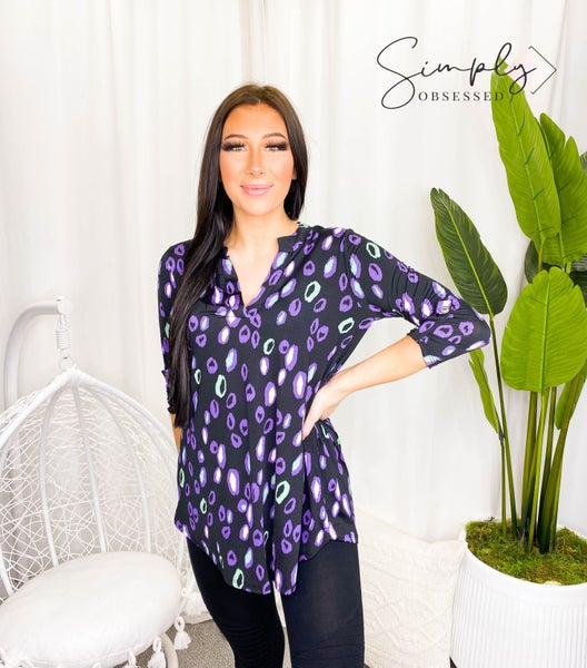 Sew In Love - Long sleeve animal print v-neck top