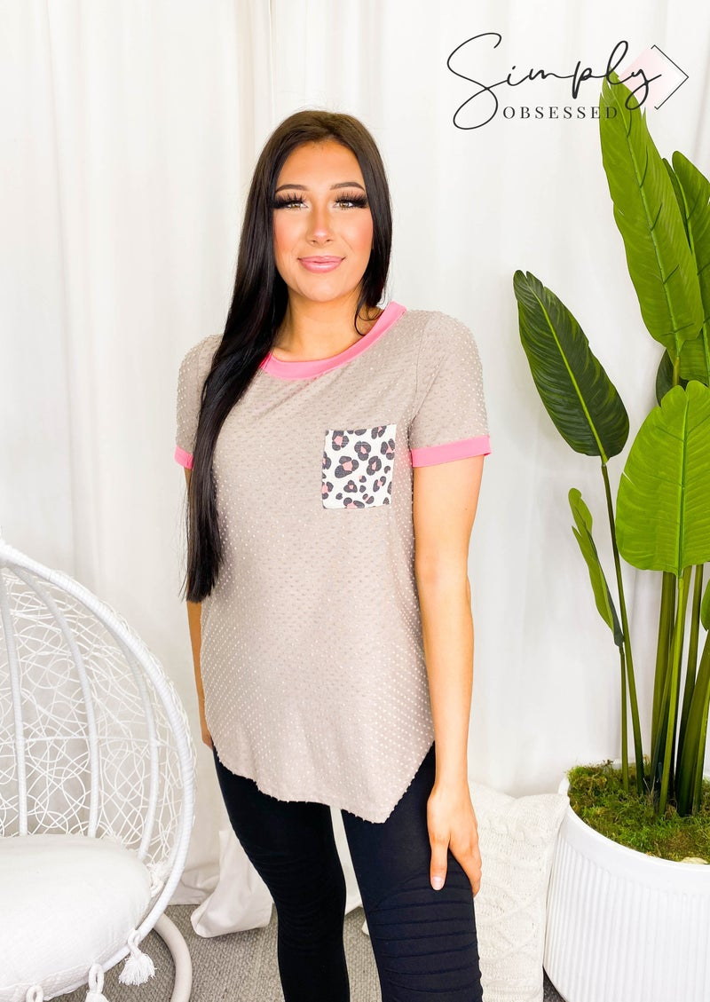 HONEY ME-ROUND NECK TOP WITH FRONT POCKET AND DISTRESSED DESIGN