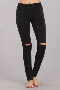 CHATOYANT-Mineral washed legging pants with an elastic waist and knee slits