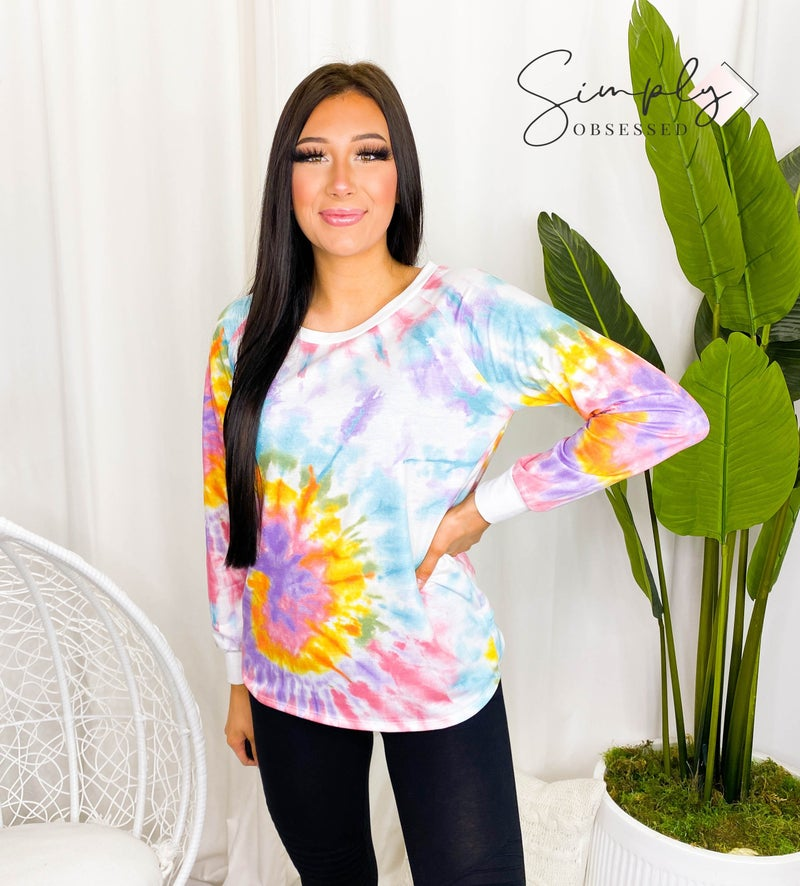 Vine & Love - Tie dye round neck loose fit top